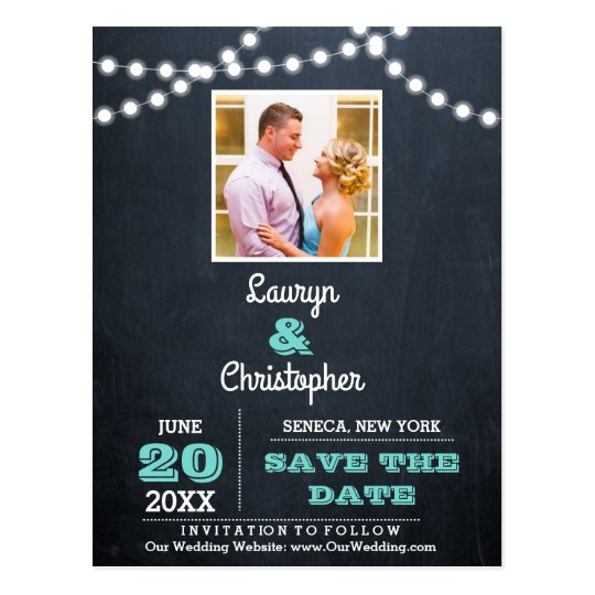 Chalkboard Lights Teal Wedding Save the Date Postcard