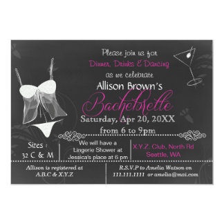 Chalkboard Lingerie Shower Bachelorette Invitation