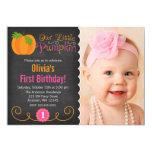 Chalkboard Little Pumpkin Pink Orange Birthday 13 Cm X 18 Cm Invitation Card