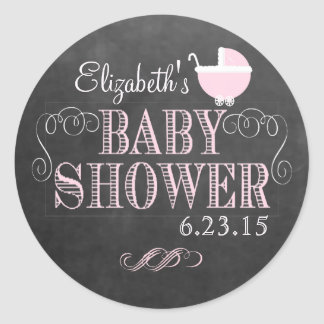 Chalkboard Look and Pink Baby Carriage Baby Shower Round Sticker