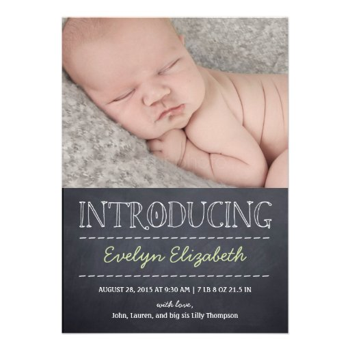 Chalkboard Look Birth Announcement - Green Announcements