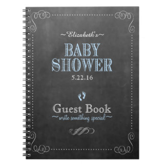 Chalkboard Look Blue Baby Shower Guest Book- Spiral Notebook