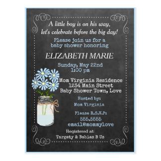 Chalkboard Look Blue Baby Shower Invitation   Postcard