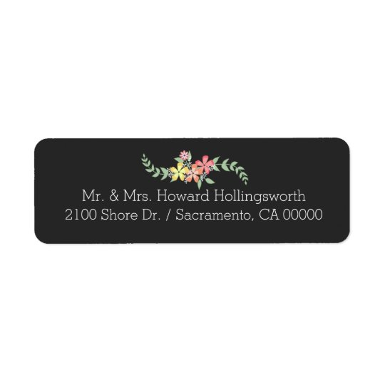 Chalkboard Look Floral Return Address Return Address Label