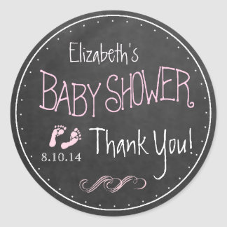 Chalkboard Look Hand Written Pink Baby Shower Classic Round Sticker