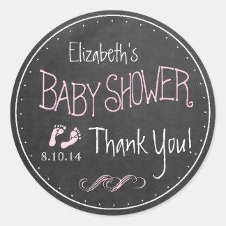 Chalkboard Look Hand Written Pink Baby Shower Round Sticker
