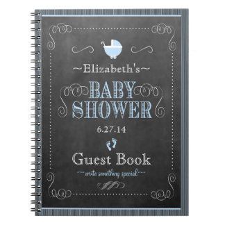 Chalkboard Look In Blue Baby Shower Guest Book- Spiral Notebooks