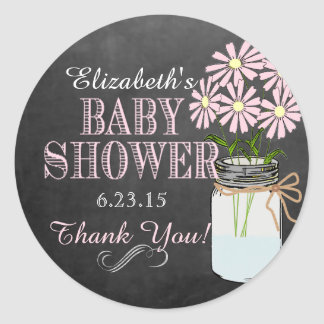 Chalkboard Look Mason Jar Pink Flowers Baby Shower Classic Round Sticker