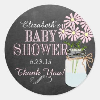 Chalkboard Look Mason Jar Pink Flowers Baby Shower Round Sticker