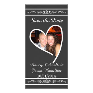 Chalkboard Look Photo Wedding Save The Date Card