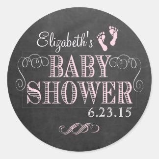 Chalkboard Look Pink Baby Shower Round Sticker