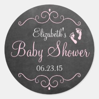 Chalkboard Look Pink Vintage Baby Shower Round Sticker