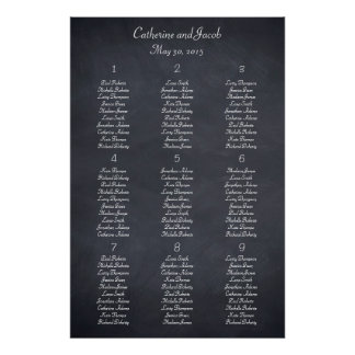 Chalkboard Look Table Seating Chart Print