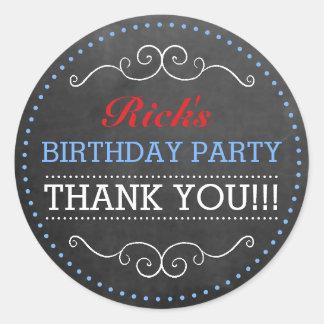 Chalkboard Look Vintage Typography Birthday Party Round Sticker