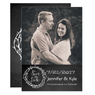 Chalkboard Look Wedding Save the Date Announcement