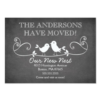 Chalkboard Love Birds New Address Announcement