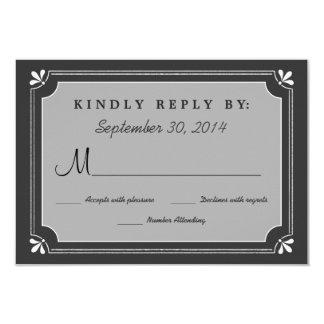 Chalkboard Love Birds Wedding RSVP Card