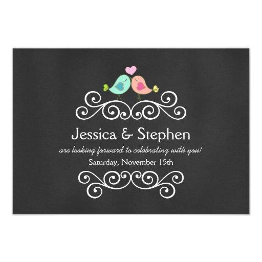 Chalkboard Love Birds Wedding RSVP Personalized Invite