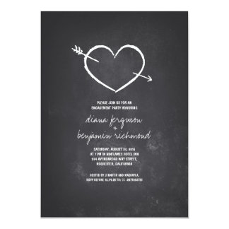 Chalkboard love heart rustic engagement party 13 cm x 18 cm invitation card