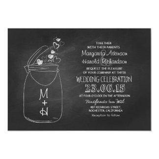 chalkboard love hearts mason jar wedding card