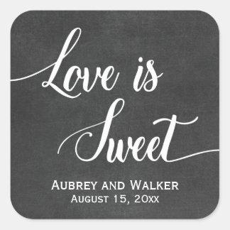 Chalkboard Love is Sweet Wedding Favor Stickers