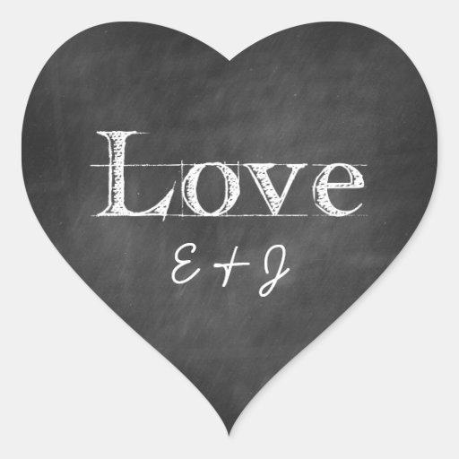 Chalkboard Love Monogram Heart Envelope Seals Sticker