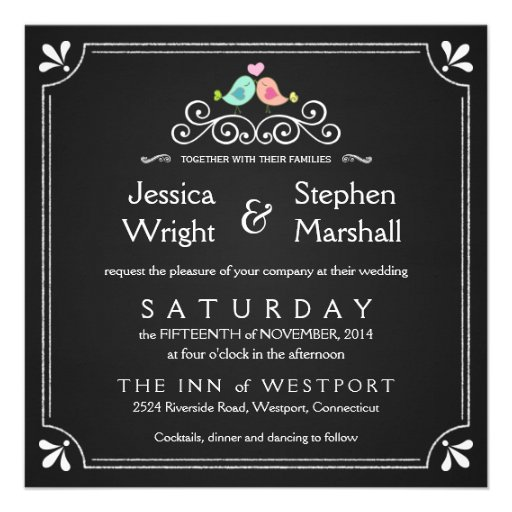 Chalkboard Lovebirds Square Wedding Invitations