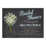 Chalkboard Mason Jar Baby's Breath Bridal Shower 11 Cm X 16 Cm Invitation Card