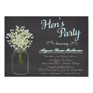 Chalkboard Mason Jar Baby's Breath Hen's Party Card