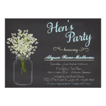 Chalkboard Mason Jar Baby's Breath Hen's Party Personalized Announcements