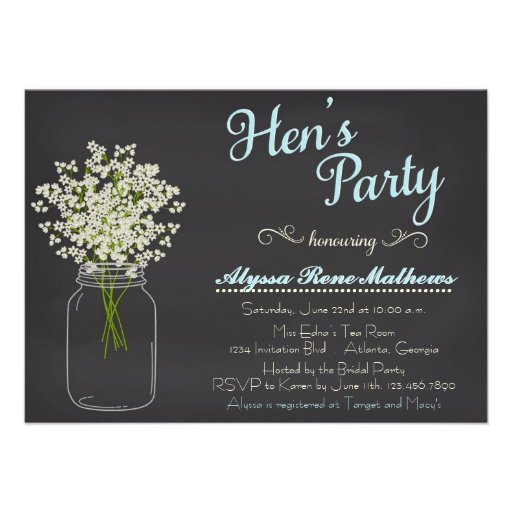 Chalkboard Mason Jar Baby's Breath Hen's Party Personalized Announcements