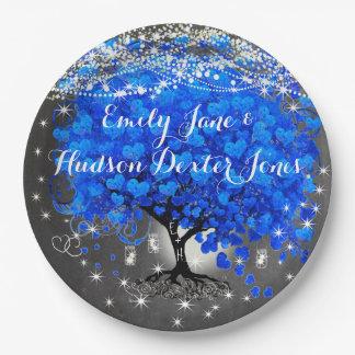 Chalkboard Mason Jar Blue Heart Leaf Firefly Paper Plate
