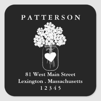 Chalkboard Mason Jar Floral Return Address Label Square Sticker