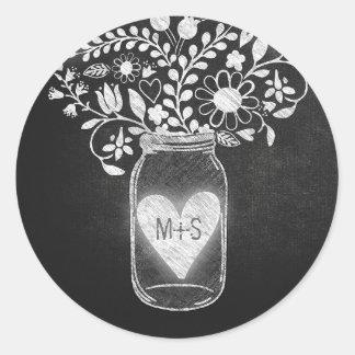 Chalkboard mason jar floral round sticker