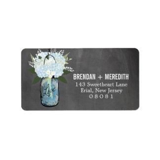 Chalkboard Mason Jar Hydrangeas | Wedding Address Label
