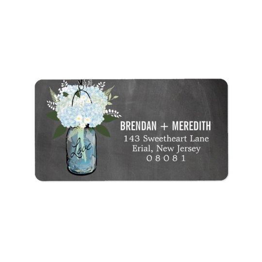 Chalkboard Mason Jar Hydrangeas | Wedding Label