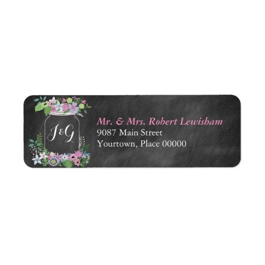Chalkboard Mason Jar Pink Floral Wedding Return Address Label