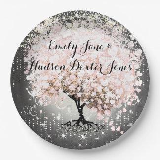 Chalkboard Mason Jar Pink Heart Leaf Firefly Paper Plate