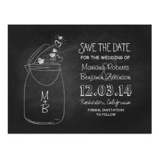 Chalkboard mason jar rustic black save the date postcard