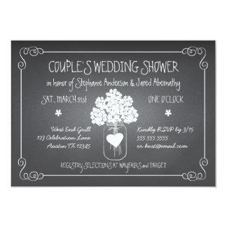 Chalkboard Mason Jar Rustic Couples Wedding Shower 13 Cm X 18 Cm Invitation Card