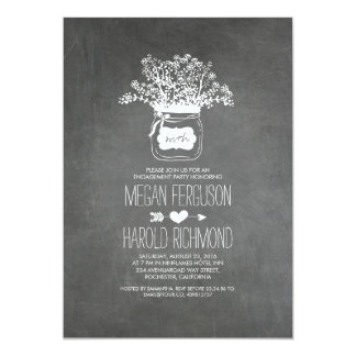 Chalkboard Mason Jar Rustic Engagement Party 13 Cm X 18 Cm Invitation Card