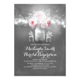 chalkboard mason jar rustic string lights wedding 13 cm x 18 cm invitation card