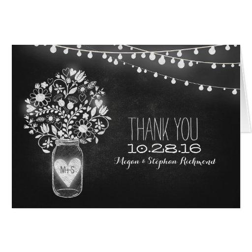 Chalkboard mason jar & string lights thank you greeting card
