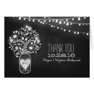 Chalkboard mason jar & string lights thank you note card