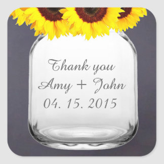 Chalkboard mason jar sunflower wedding favors square sticker