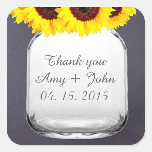 Chalkboard mason jar sunflower wedding favors sticker