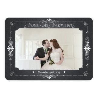 Chalkboard Mason Jar Wedding Photo Thank You Card