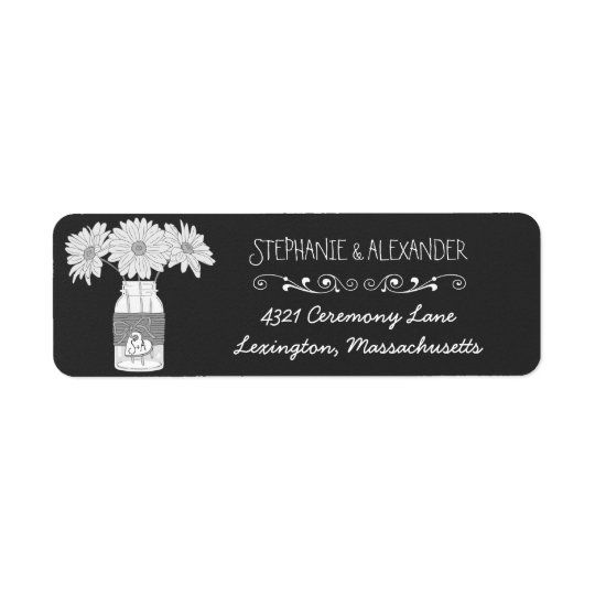Chalkboard Mason Jar Wedding Return Address Labe Return Address Label