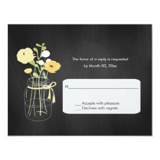 Chalkboard Mason Jar Wedding RSVP Cards 11 Cm X 14 Cm Invitation Card