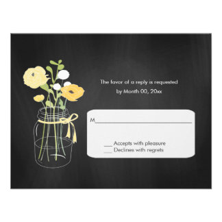 Chalkboard Mason Jar Wedding RSVP Cards